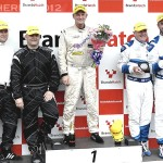 Michael Symons on the podium at BrandsHatch Britcar 2012